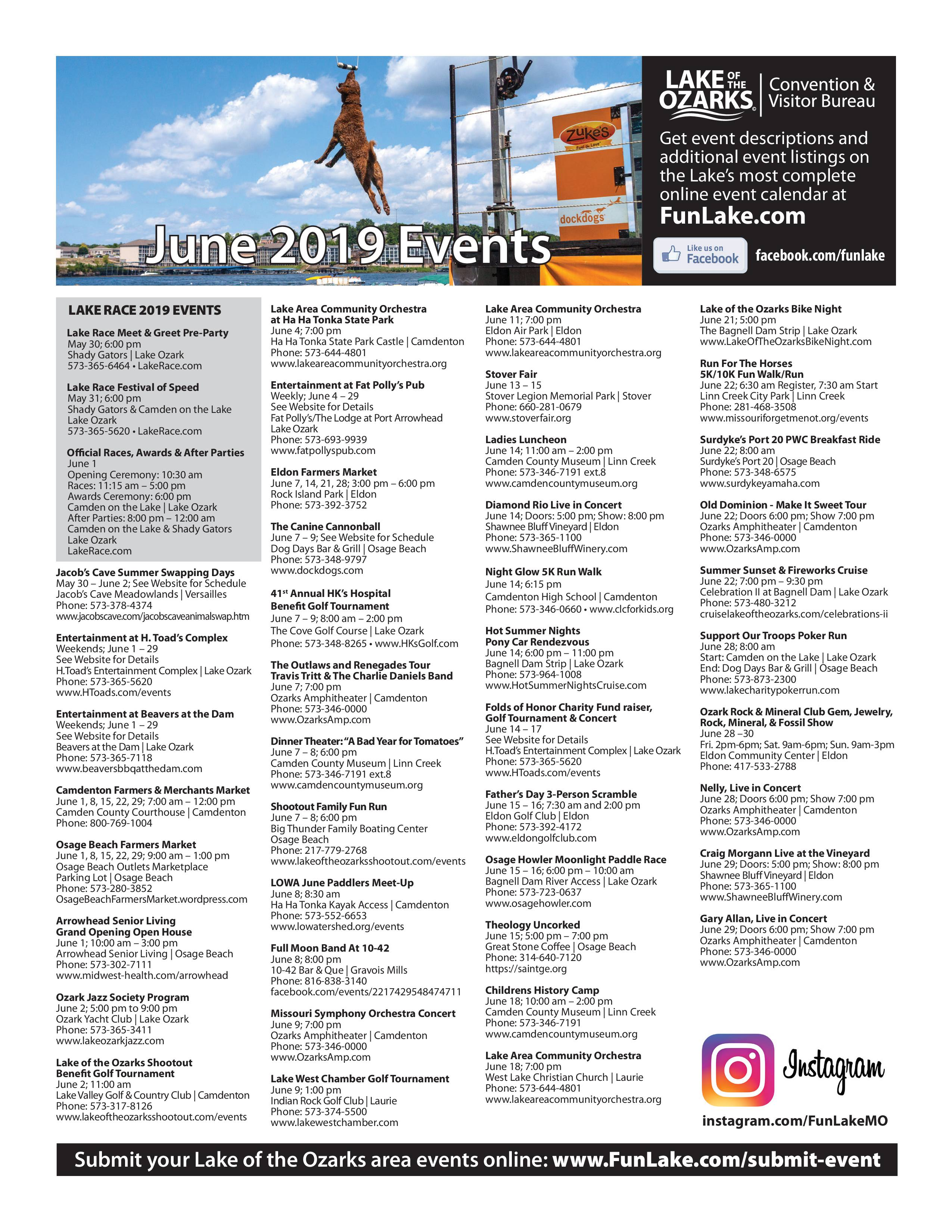 Lake of the Ozarks Event Calendar June 2019