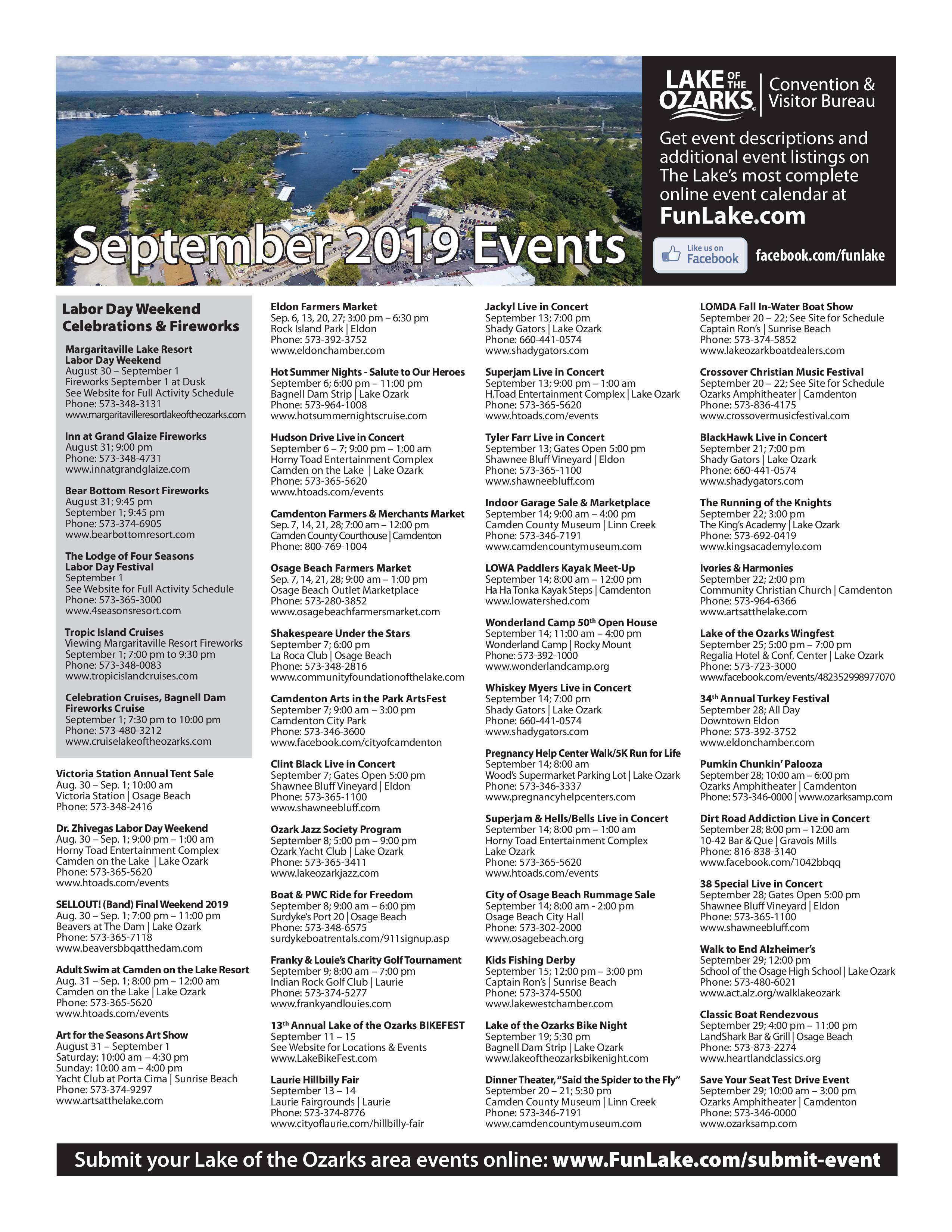 Labor Day Weekend and September Events Calendar