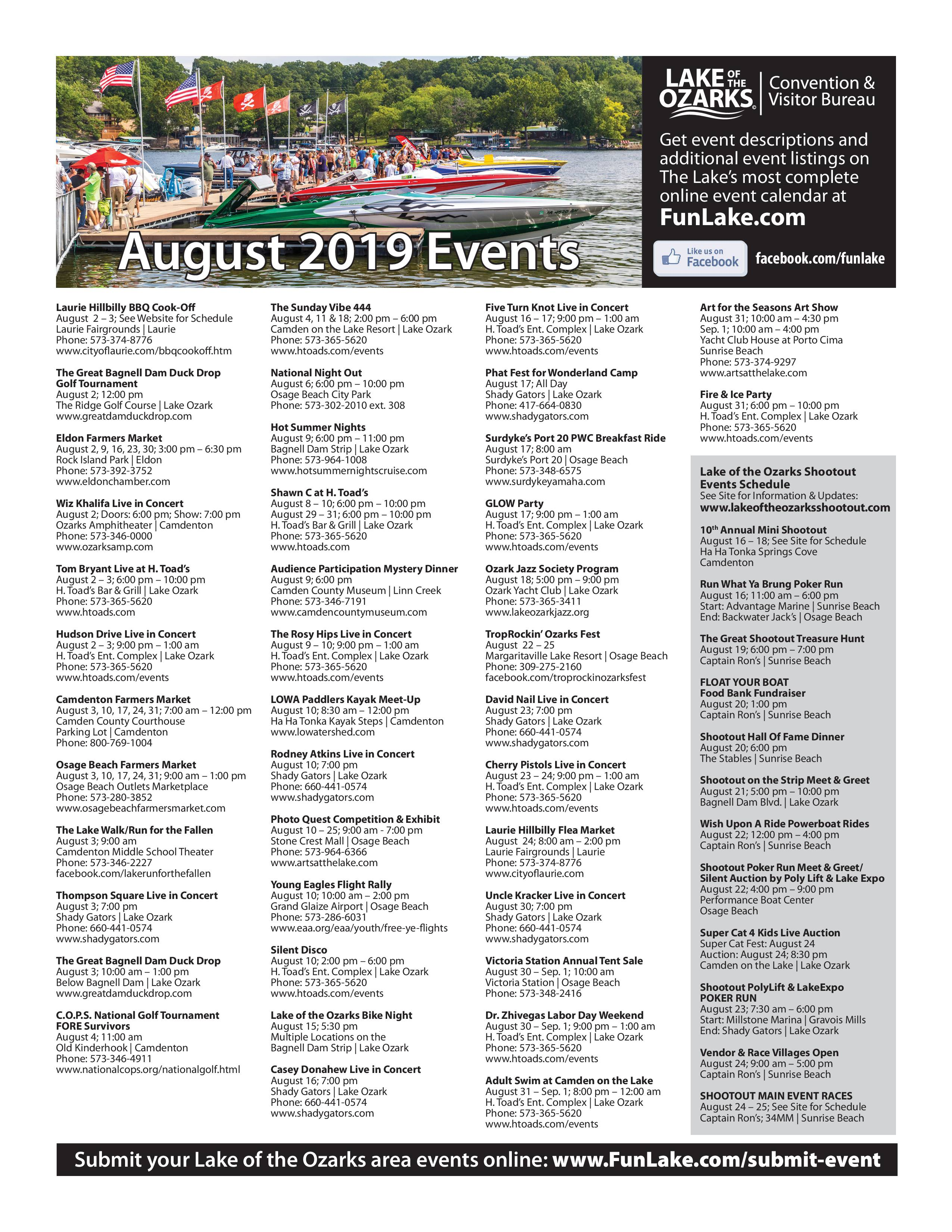 Aug 2019 Lake of the Ozarks Events Calendar