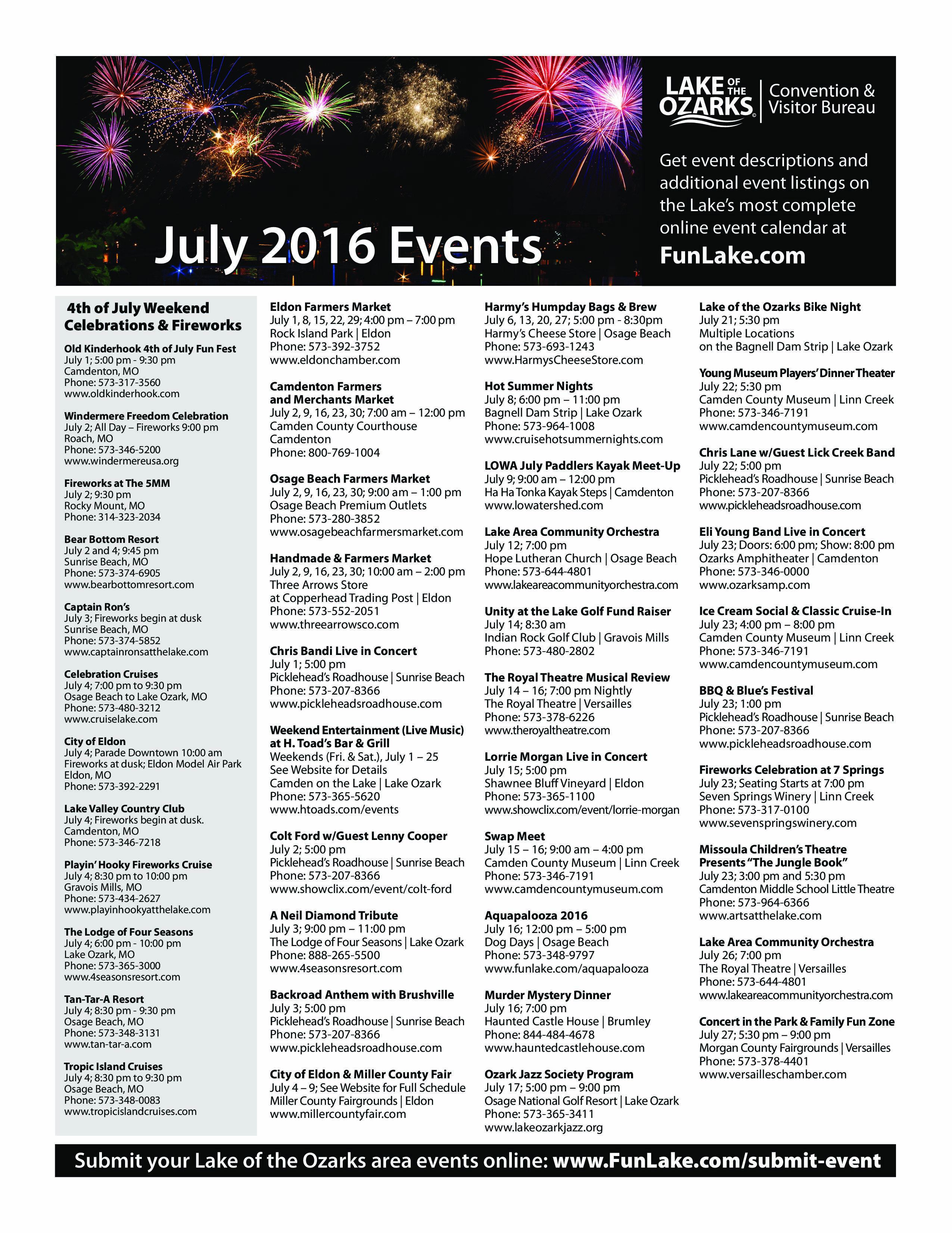 Lake of the Ozarks July Event Schedul